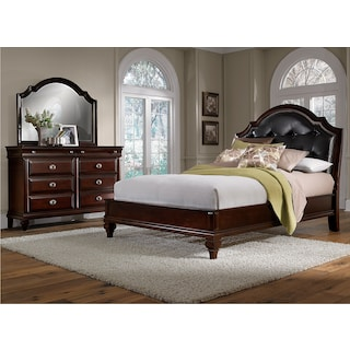 Manhattan 5-Piece Queen Upholstered Bedroom Set with Dresser and Mirror - Cherry