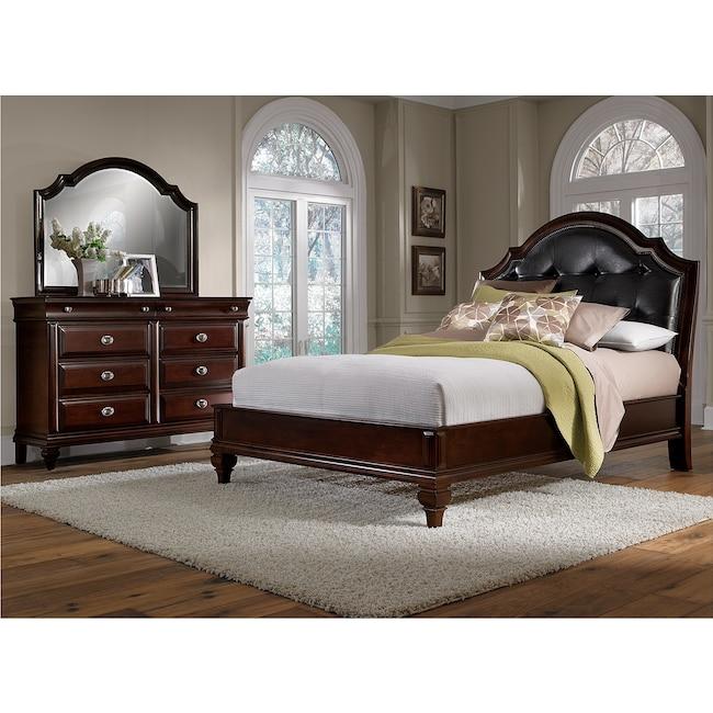 Manhattan 5-Piece Queen Upholstered Bedroom Set - Cherry ...