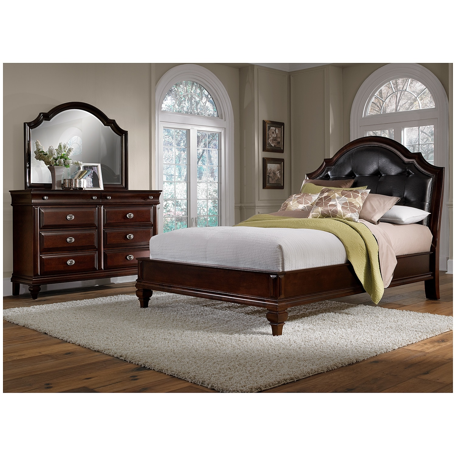 Manhattan 5 Piece Queen Upholstered Bedroom Set   Cherry