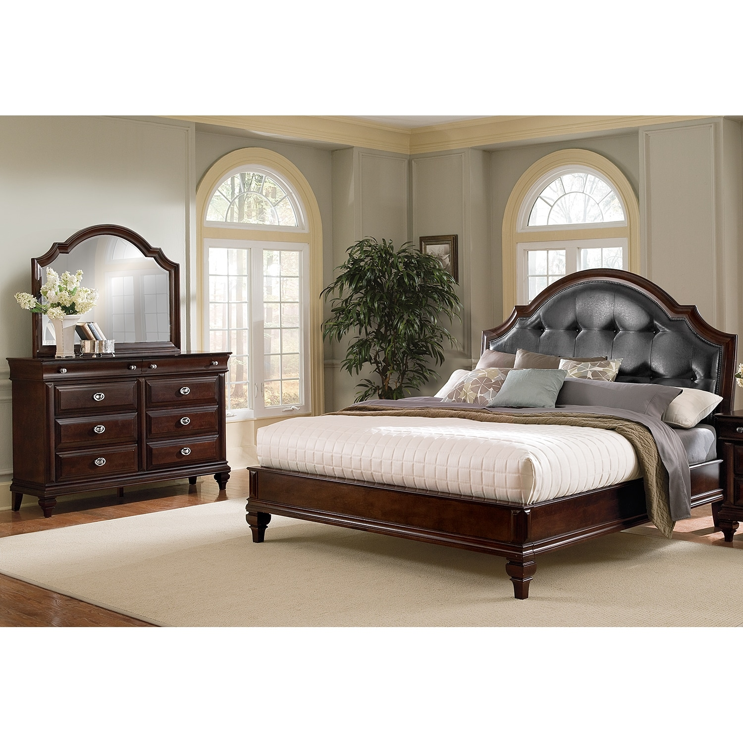 American Signature Furniture Com: Manhattan King Upholstered Bed - Cherry