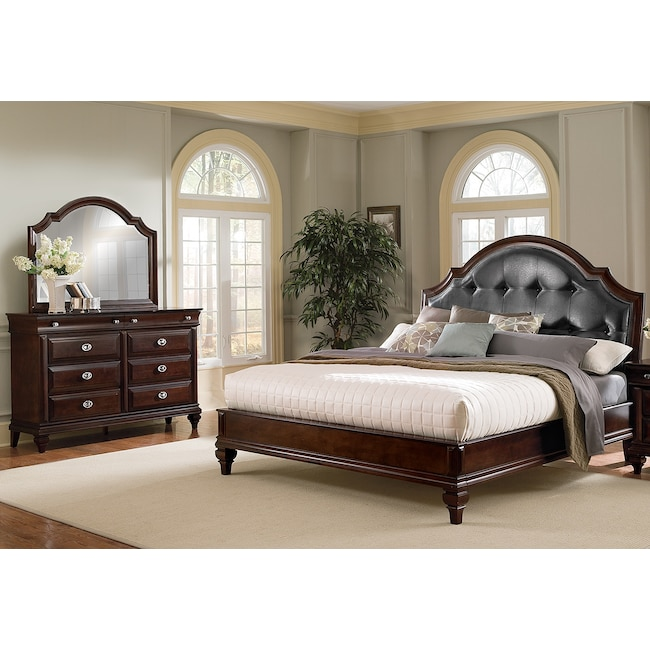 Bedroom Furniture - Manhattan 5-Piece Upholstered Bedroom Set with Dresser and Mirror