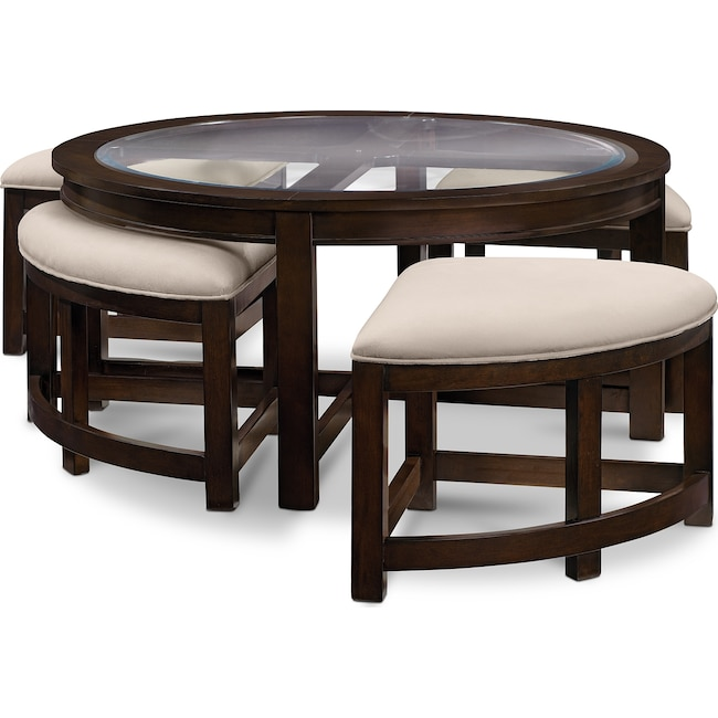 Accent and Occasional Furniture - Four Corners Coffee Table with 4 Benches