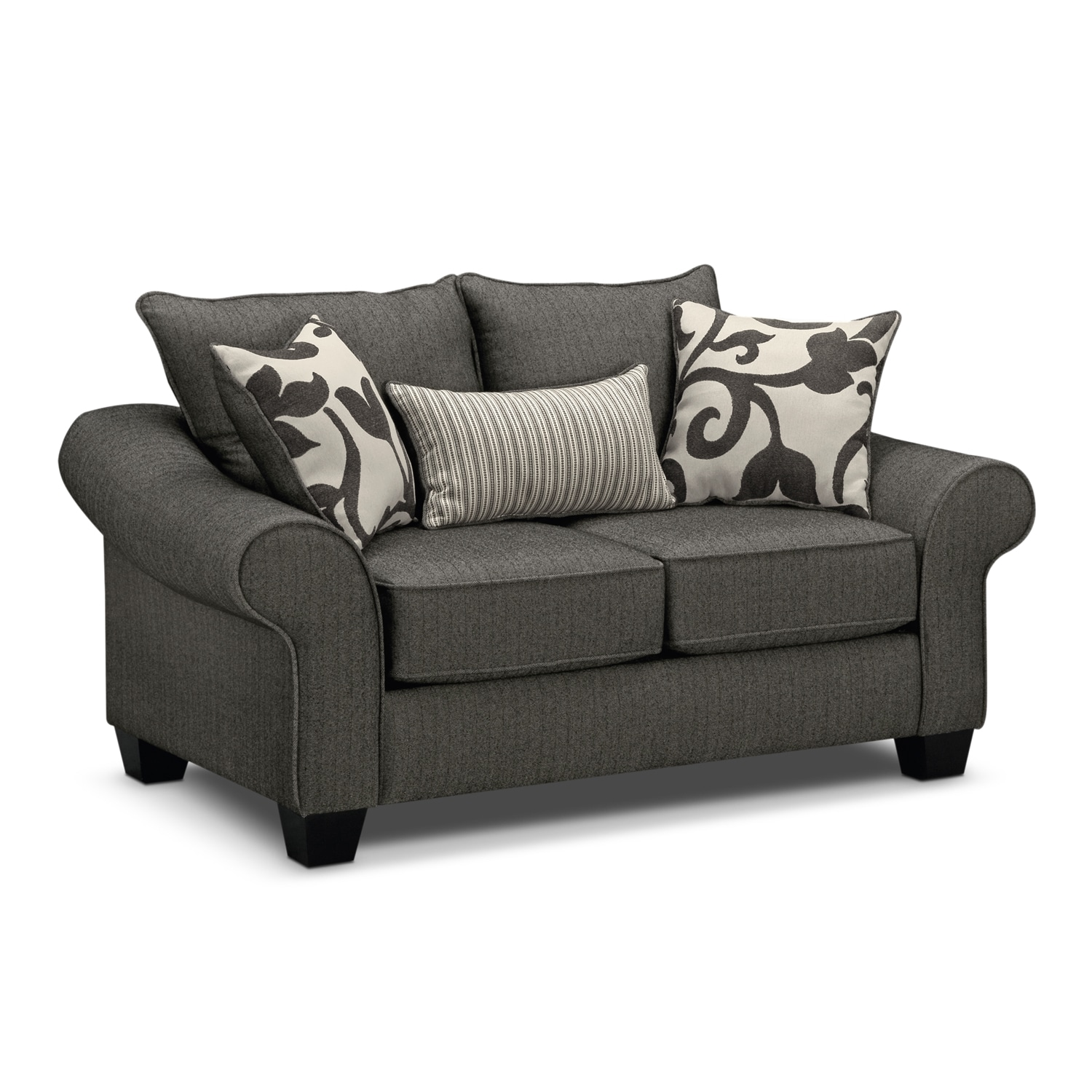 Living Room Furniture - Colette Gray Loveseat