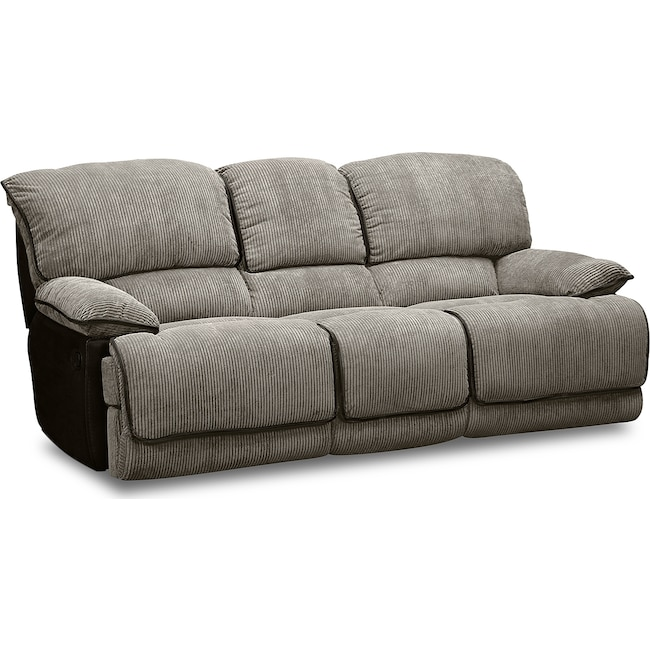 Living Room Furniture - Laguna Dual Reclining Sofa - Steel