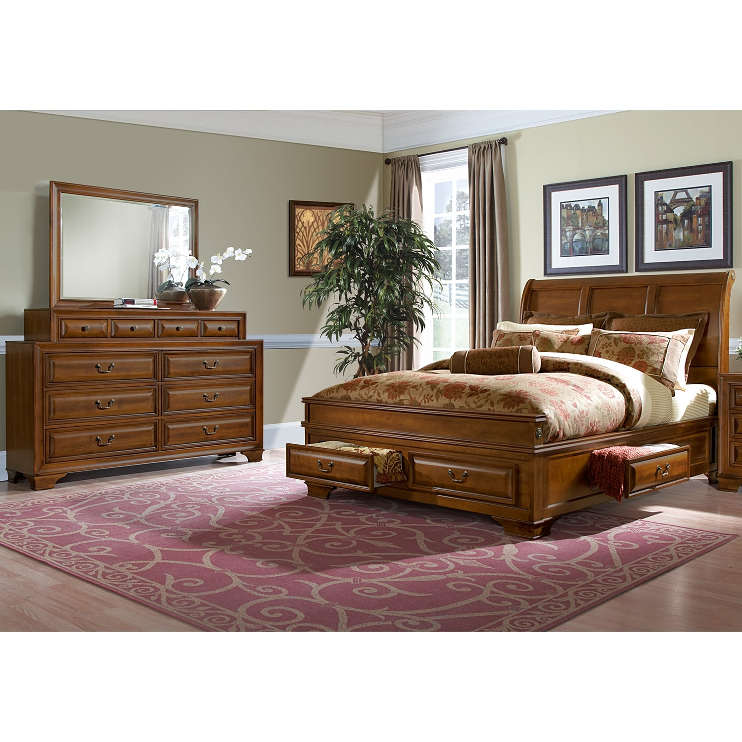 sanibelle 5 piece king storage bedroom set pine american signature furniture. Black Bedroom Furniture Sets. Home Design Ideas