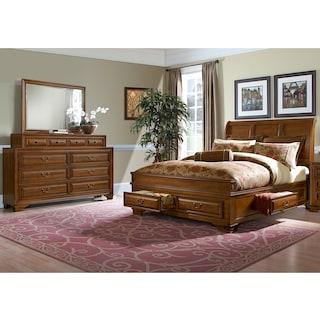 Sanibelle 5-Piece Queen Storage Bedroom Set - Pine