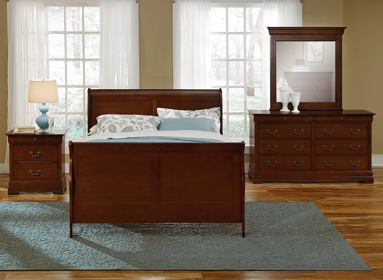 Neo classic youth 6 piece full bedroom set cherry for American classic bedroom