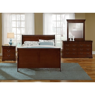 Neo Classic Youth 6-Piece Full Bedroom Set with Nightstand, Dresser and Mirror - Cherry