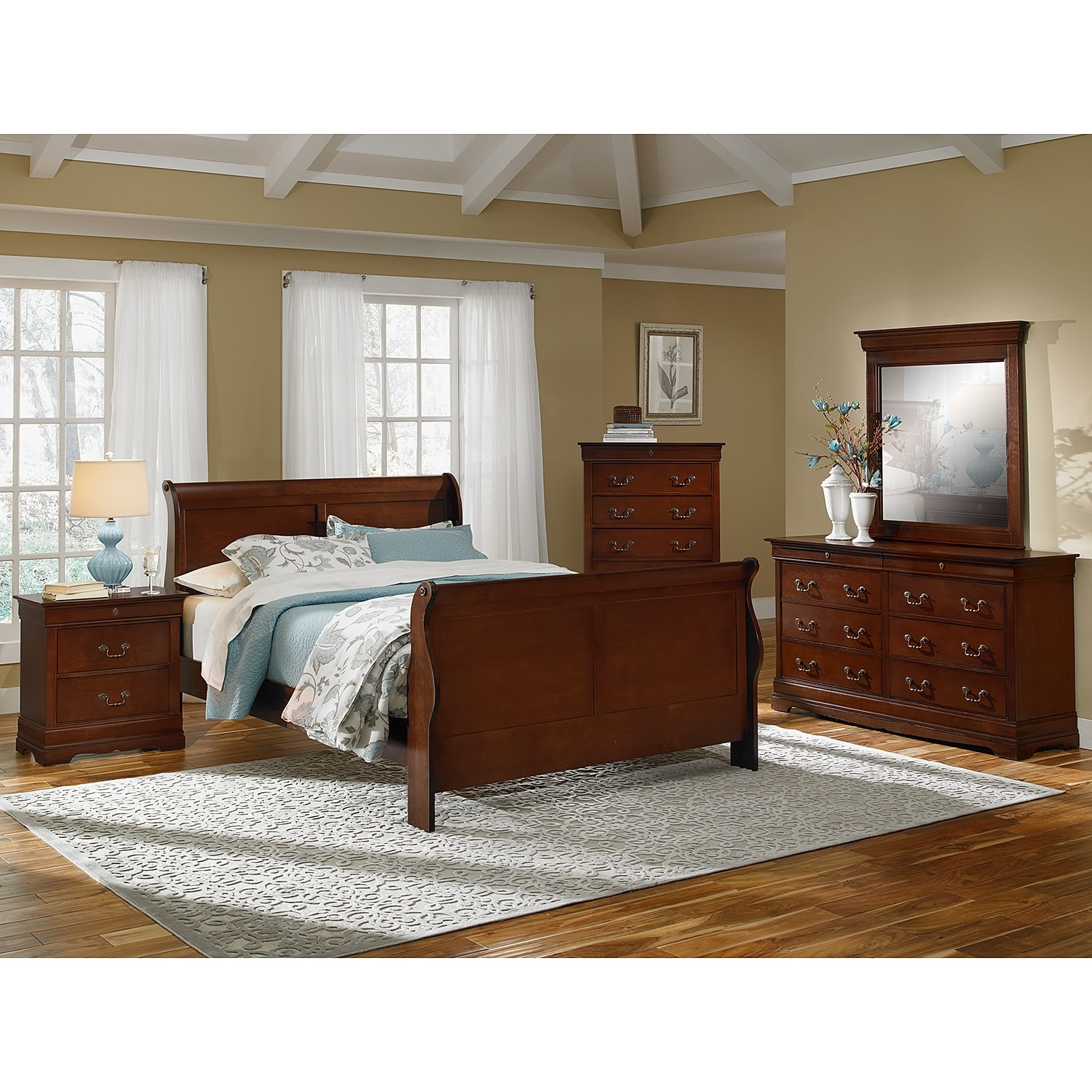 Bedroom Furniture - Neo Classic 7-Piece Queen Bedroom Set - Cherry