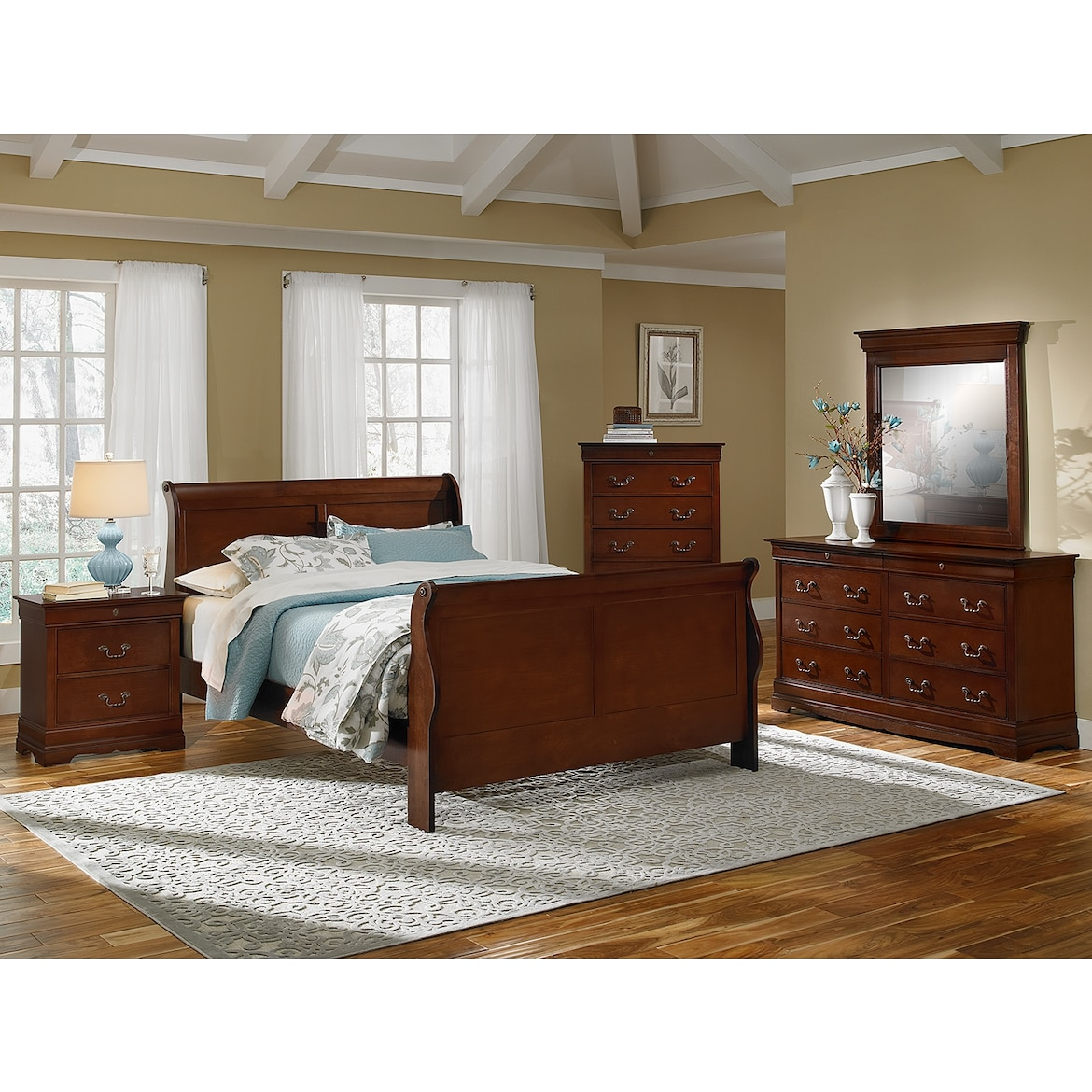 Neo Classic 7-Piece Bedroom Set with Chest, Nightstand, Dresser and ...