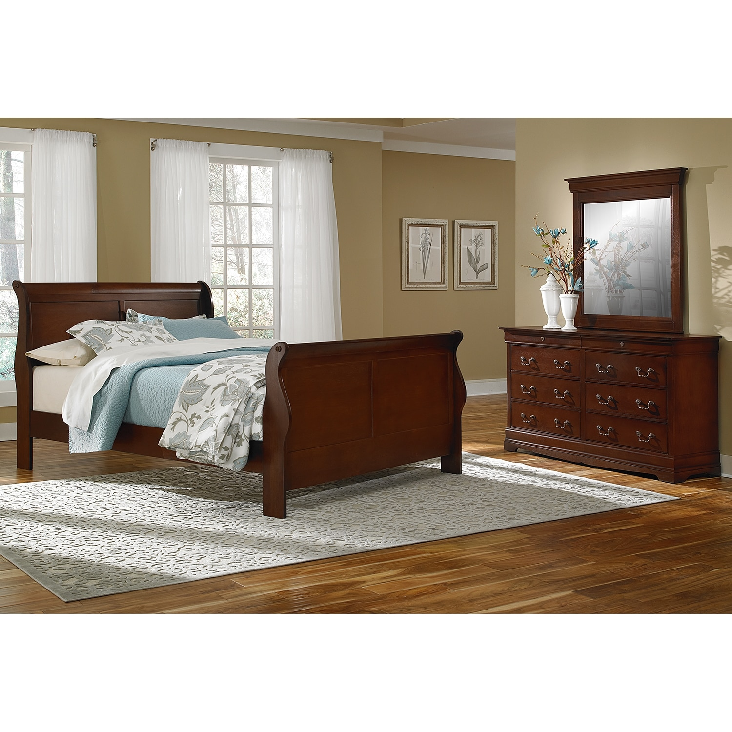 Bedroom Furniture - Neo Classic 5-Piece Queen Bedroom Set - Cherry