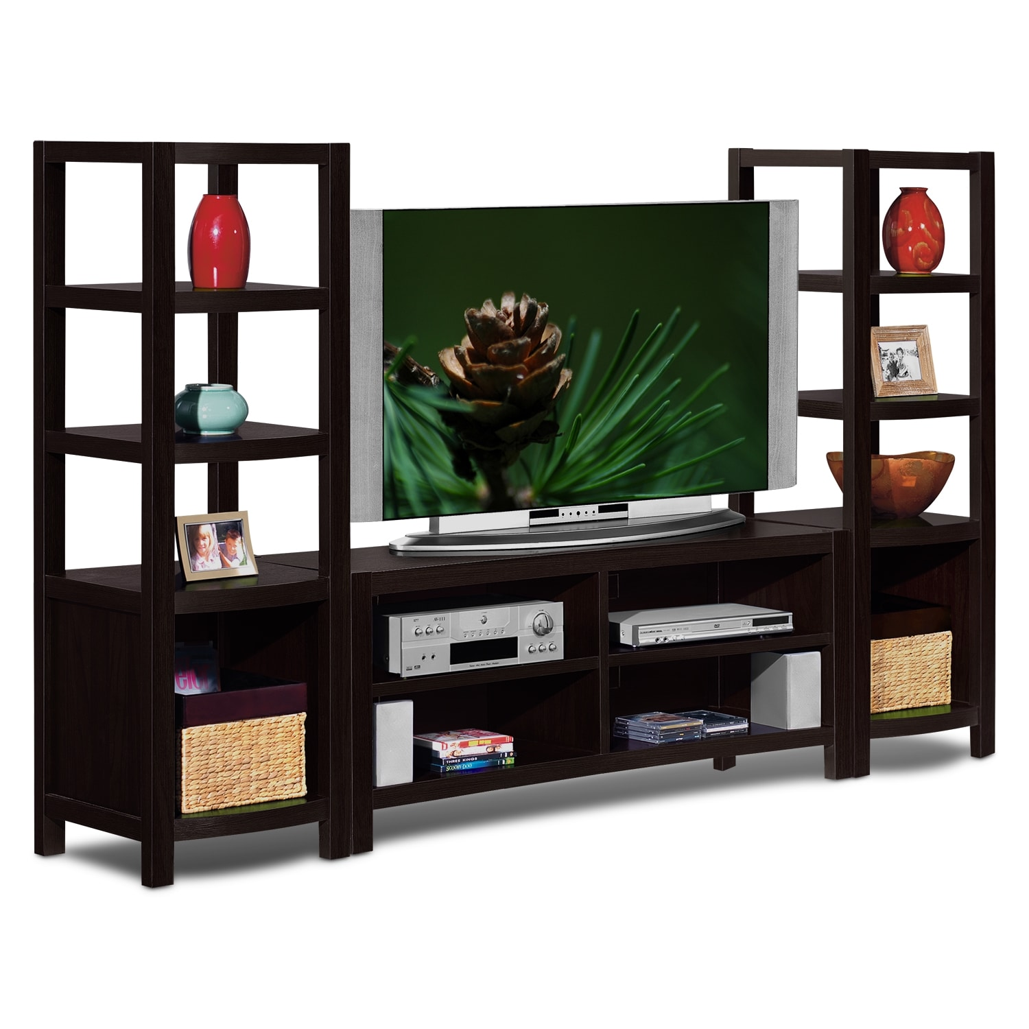 Townsend 3-Piece Entertainment Wall Unit - Merlot