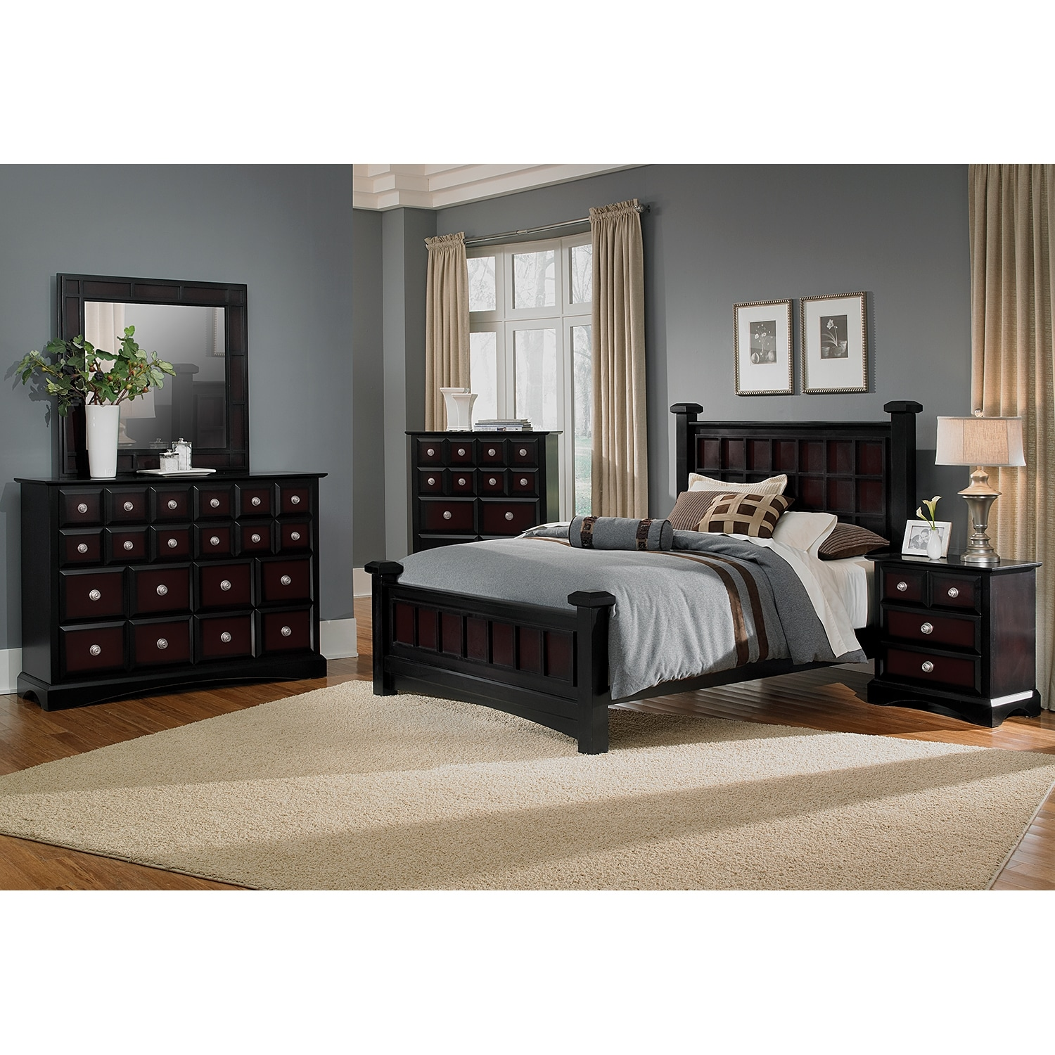 Najarian Bedroom Furniture Winchester Queen Bed Black And Burnished Merlot American