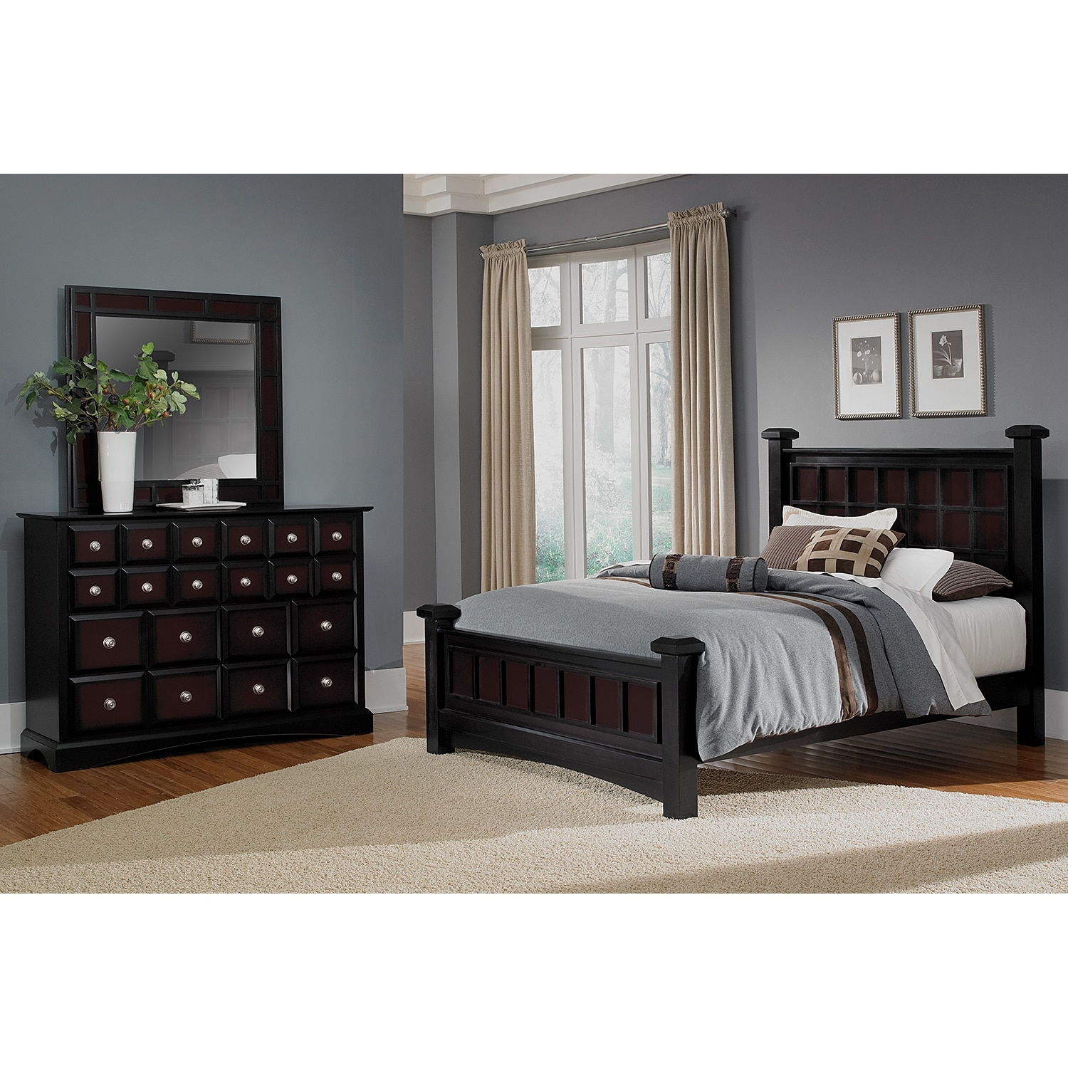 Winchester 5 piece queen bedroom set black and burnished - Black queen bedroom furniture set ...