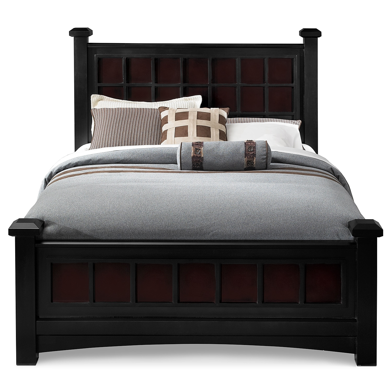 Winchester king bed black and burnished merlot for American furniture king bedroom sets