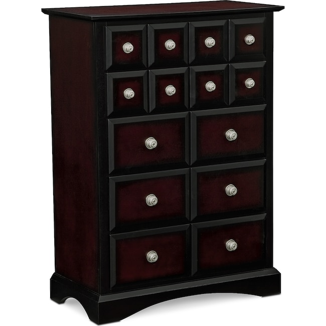 Bedroom Furniture - Winchester Chest - Black and Burnished Merlot