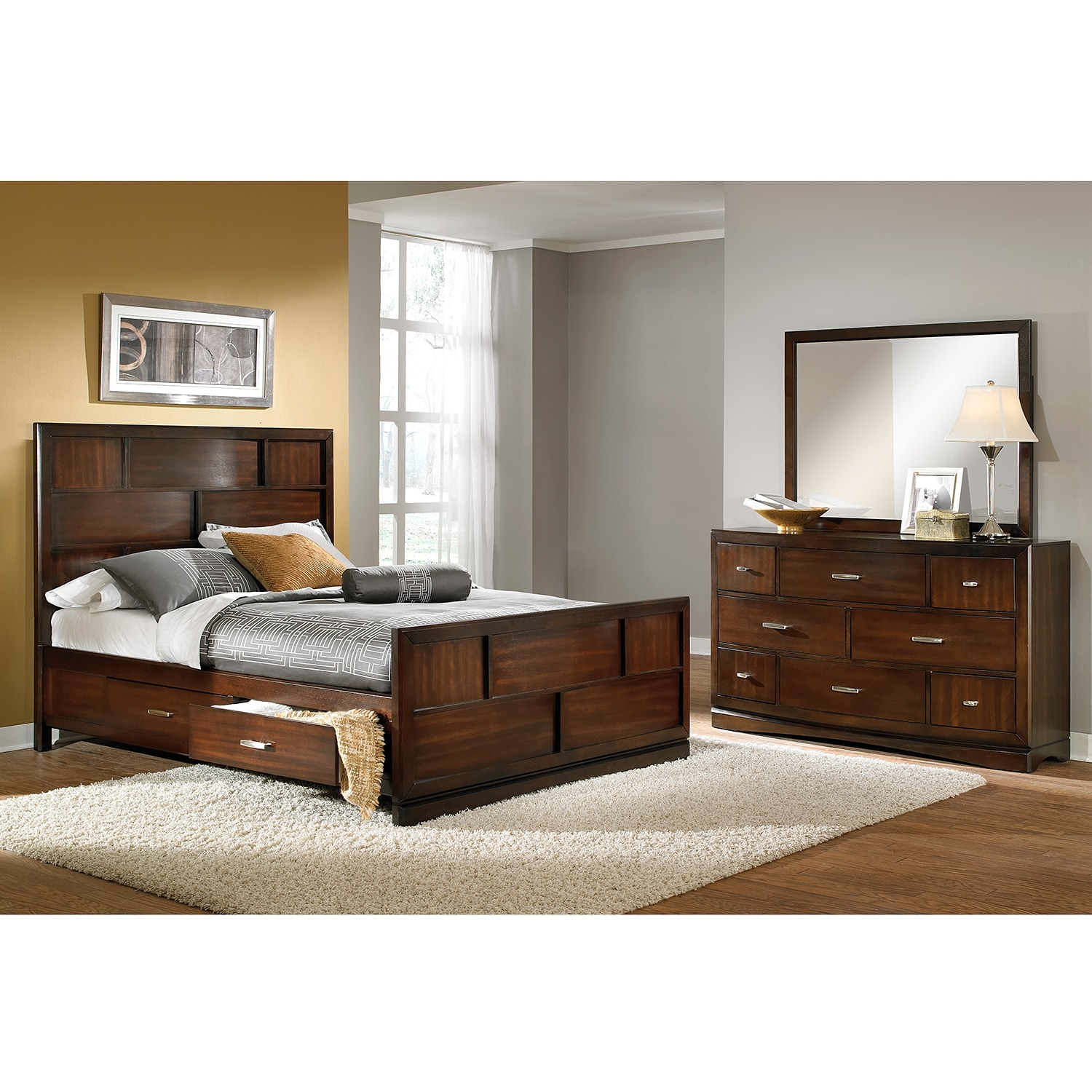 Toronto 5 piece king storage bedroom set pecan for Signature furniture