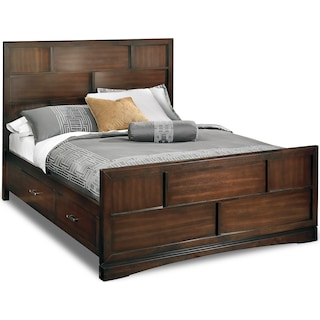 Toronto King Storage Bed - Pecan