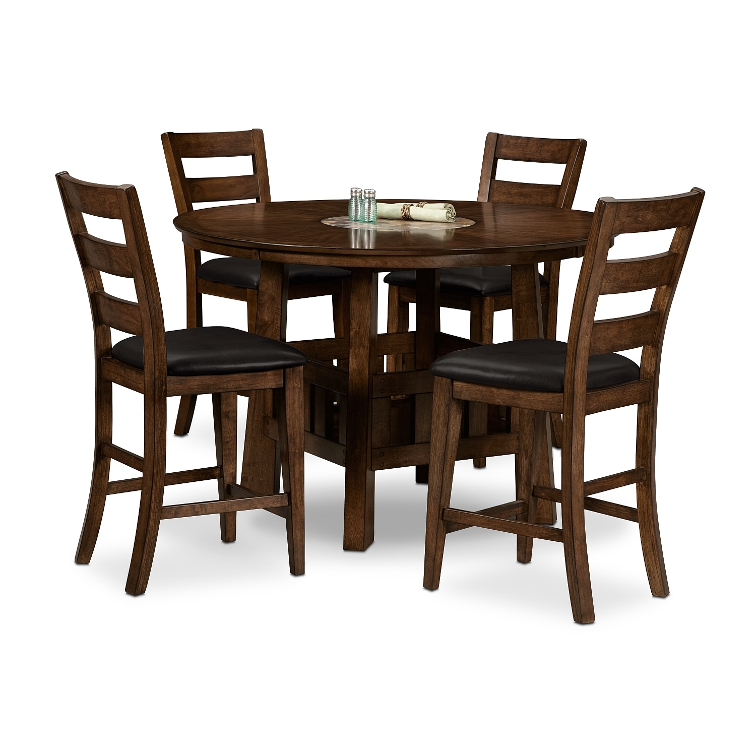 Dining Room Furniture - Harbor Pointe Counter-Height Table and 4 Chairs - Oak