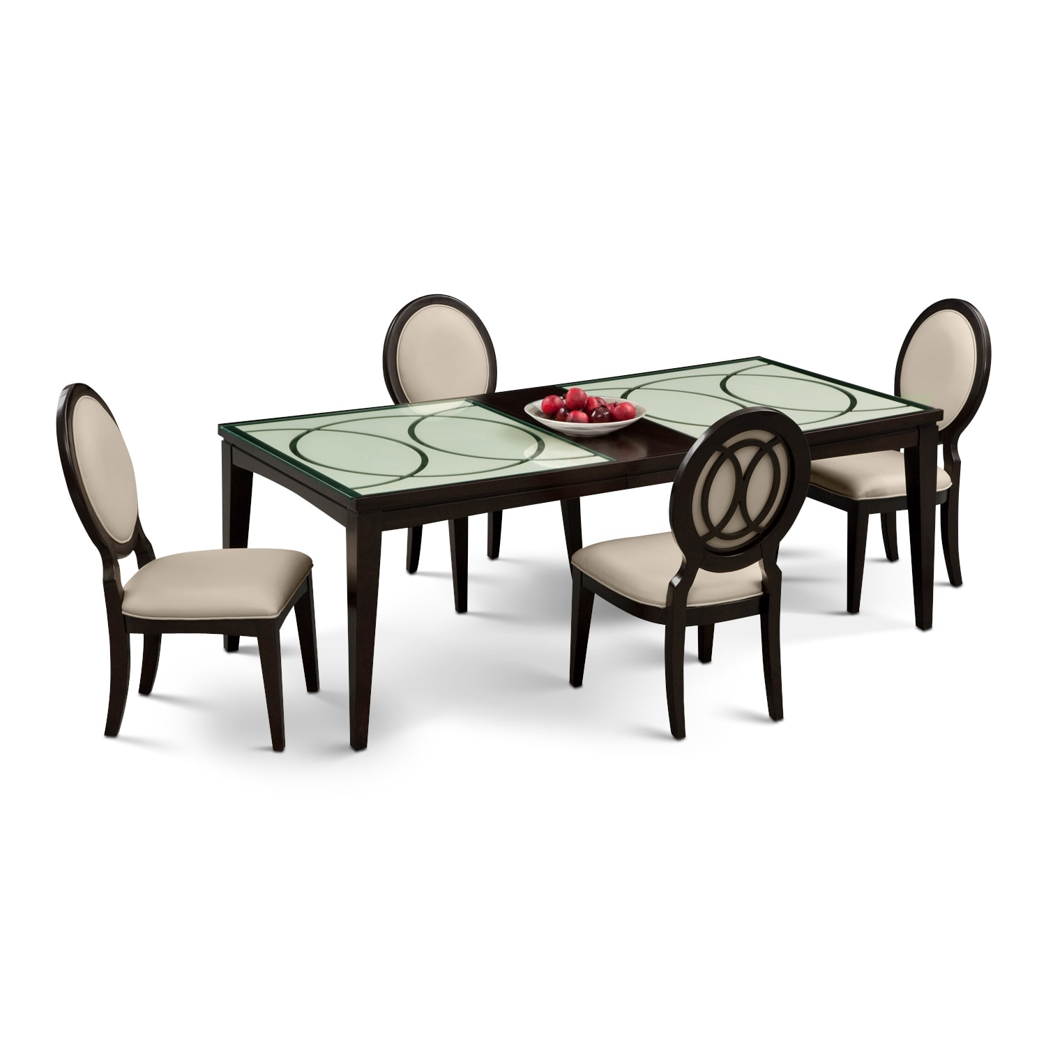 Dining Room Furniture - Cosmo Table and 4 Chairs - Merlot