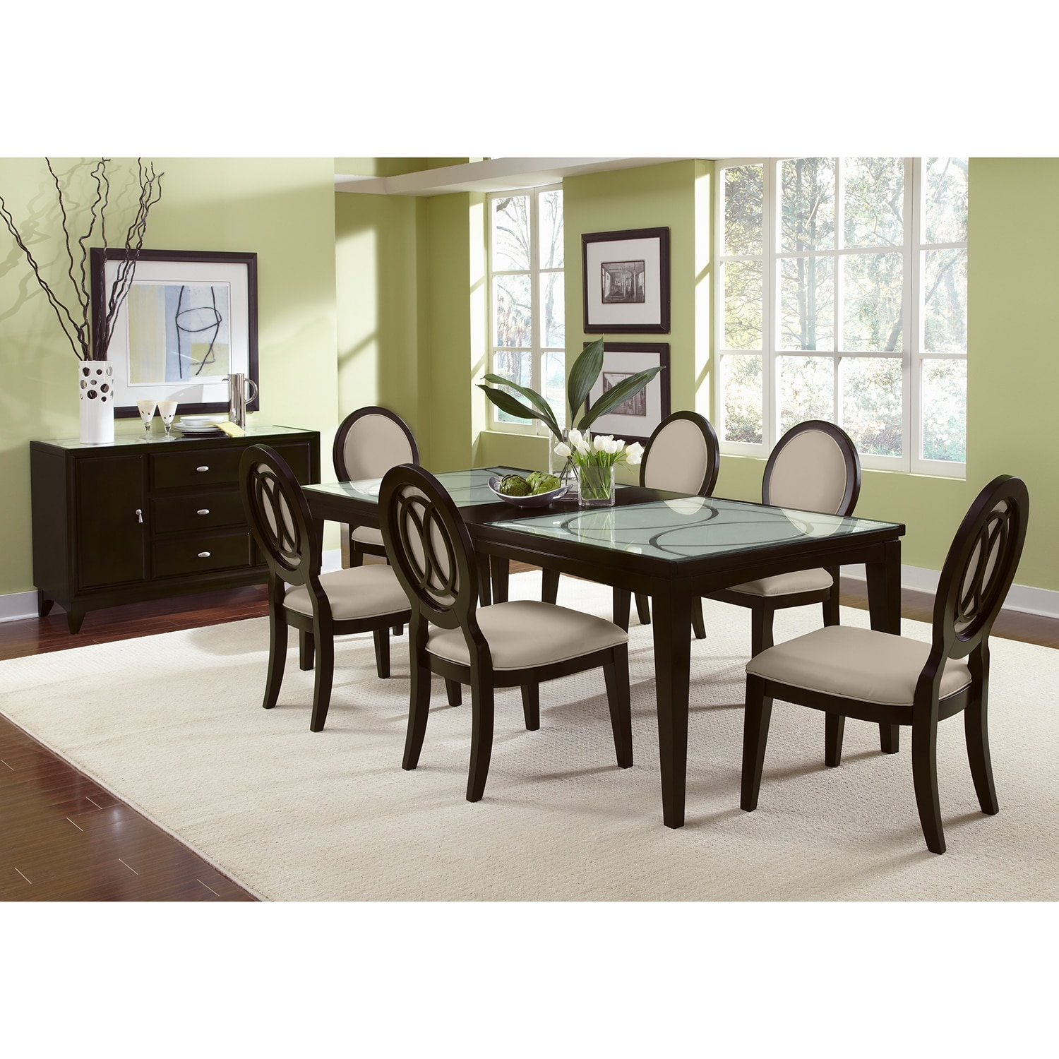 Dining room furniture cosmo table and 6 chairs merlot