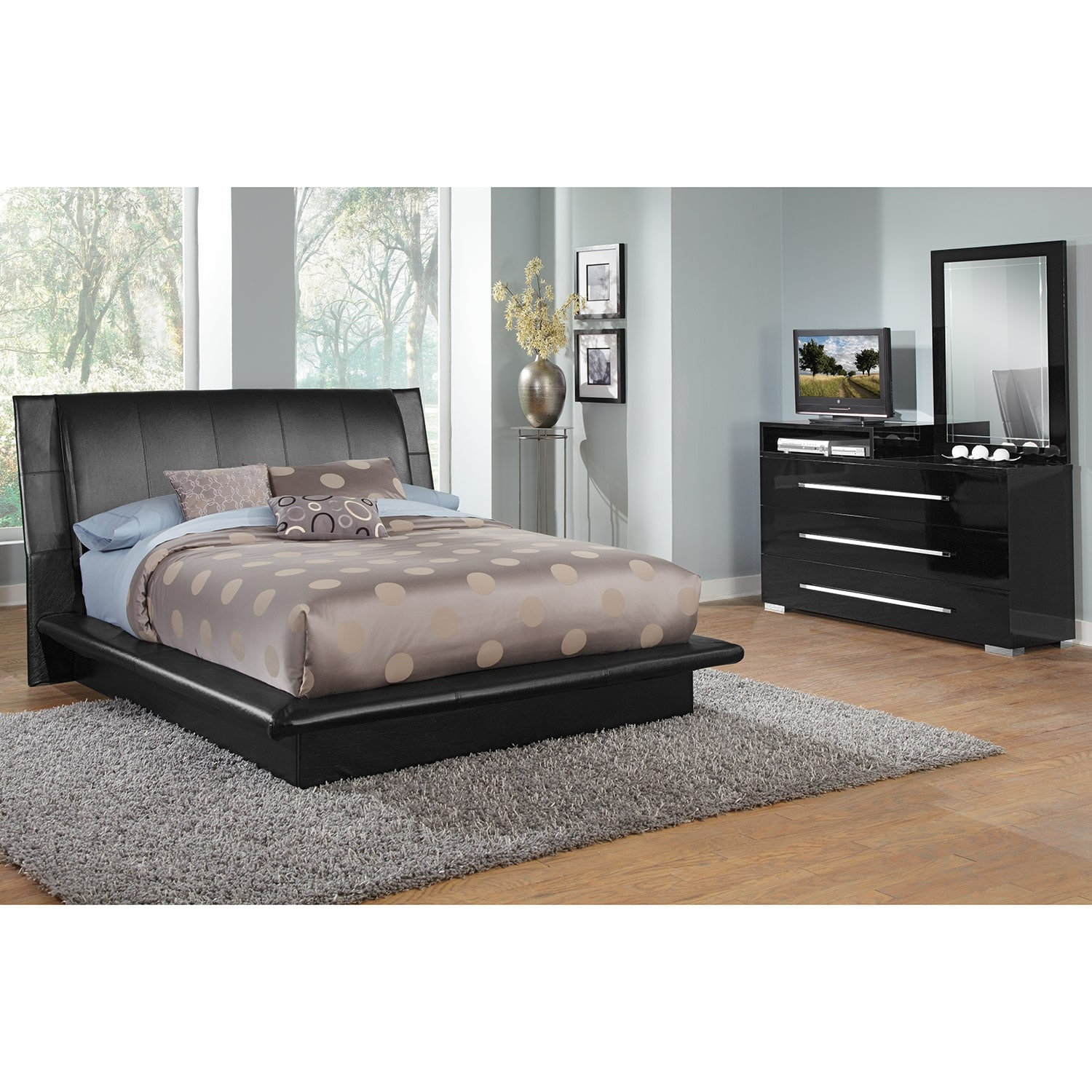 Dimora 5-Piece Queen Upholstered Bedroom Set with Media Dresser - Black