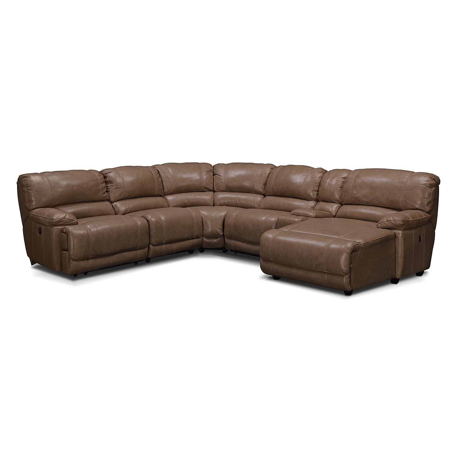 St malo 6 piece power reclining sectional with right for Brighton taupe 3 piece chaise and sofa set