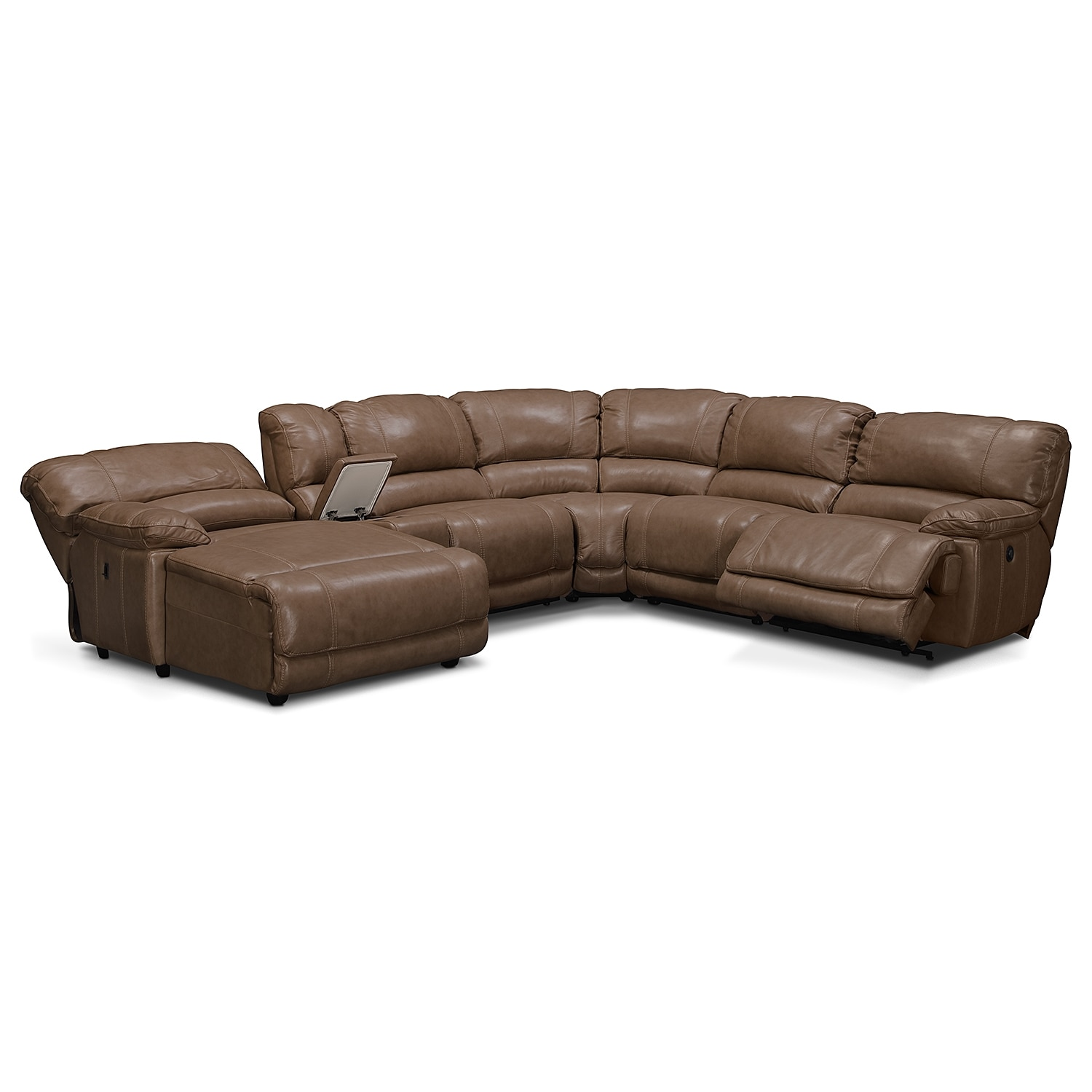 St malo 6 piece power reclining sectional with left for Brighton taupe 3 piece chaise and sofa set