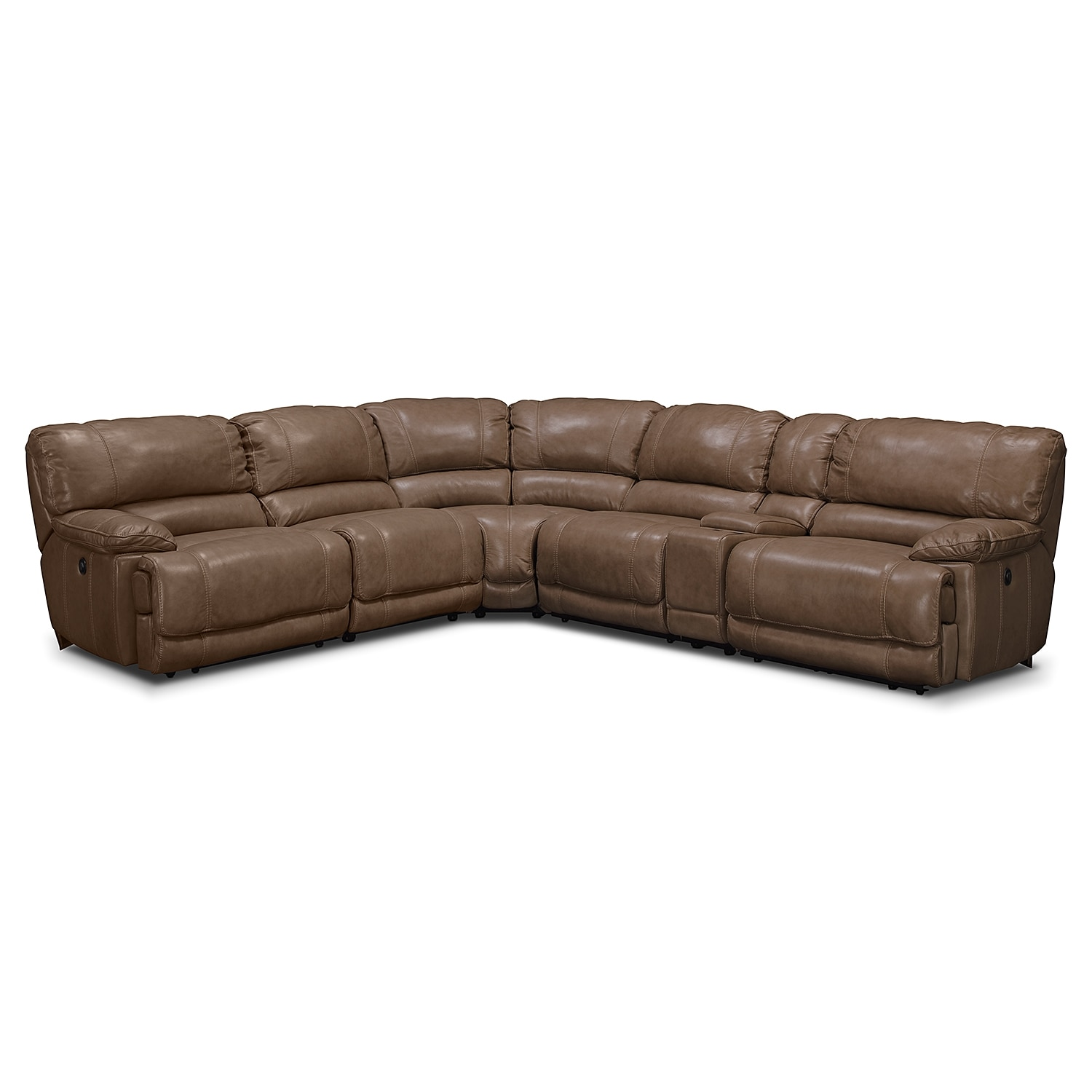 St. Malo 6-Piece Power Reclining Sectional with Modular Console - Taupe by  One80 - St. Malo 6-Piece Power Reclining Sectional With Modular Console