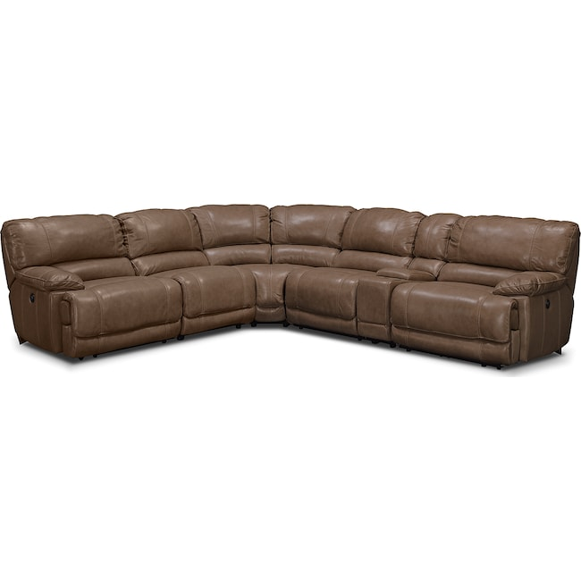 Living Room Furniture - St. Malo 6-Piece Power Reclining Sectional with Modular Console - Taupe
