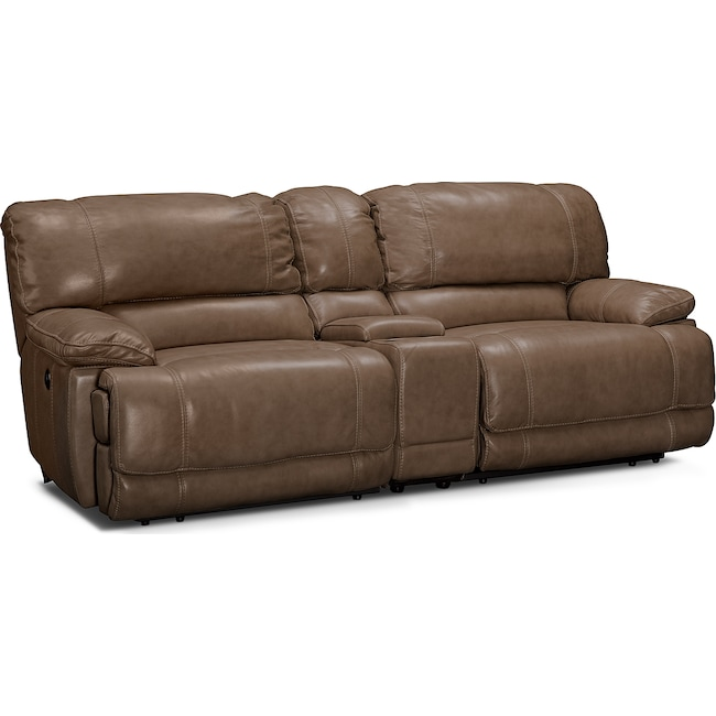 Living Room Furniture - St. Malo Power Reclining Sofa with Console - Taupe