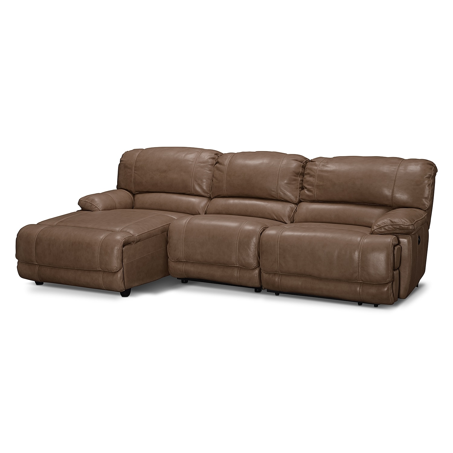St malo 3 piece power reclining sectional with left for Brighton taupe 3 piece chaise and sofa set