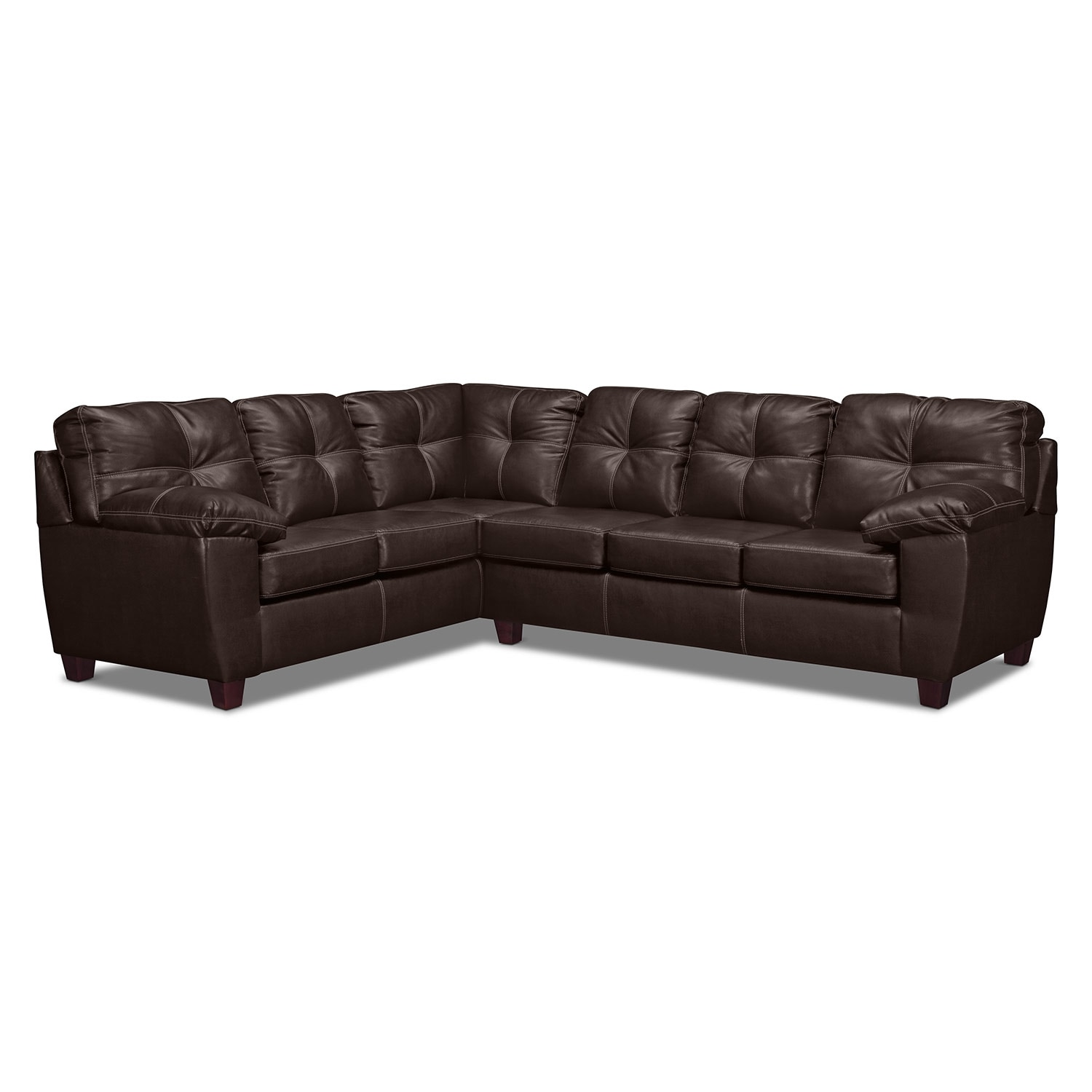 Rialto 2-Piece Sectional with Left-Facing Corner Sofa - Brown
