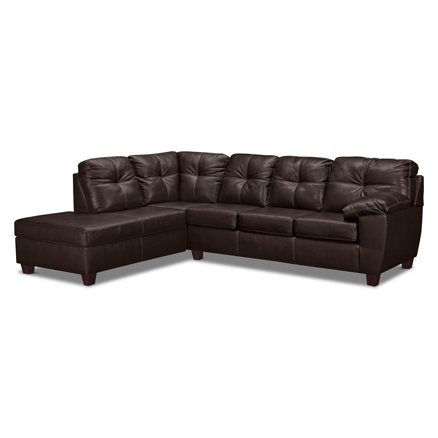 Living Room Furniture - Rialto 2-Piece Innerspring Sleeper Sectional with Left-Facing Chaise - Brown