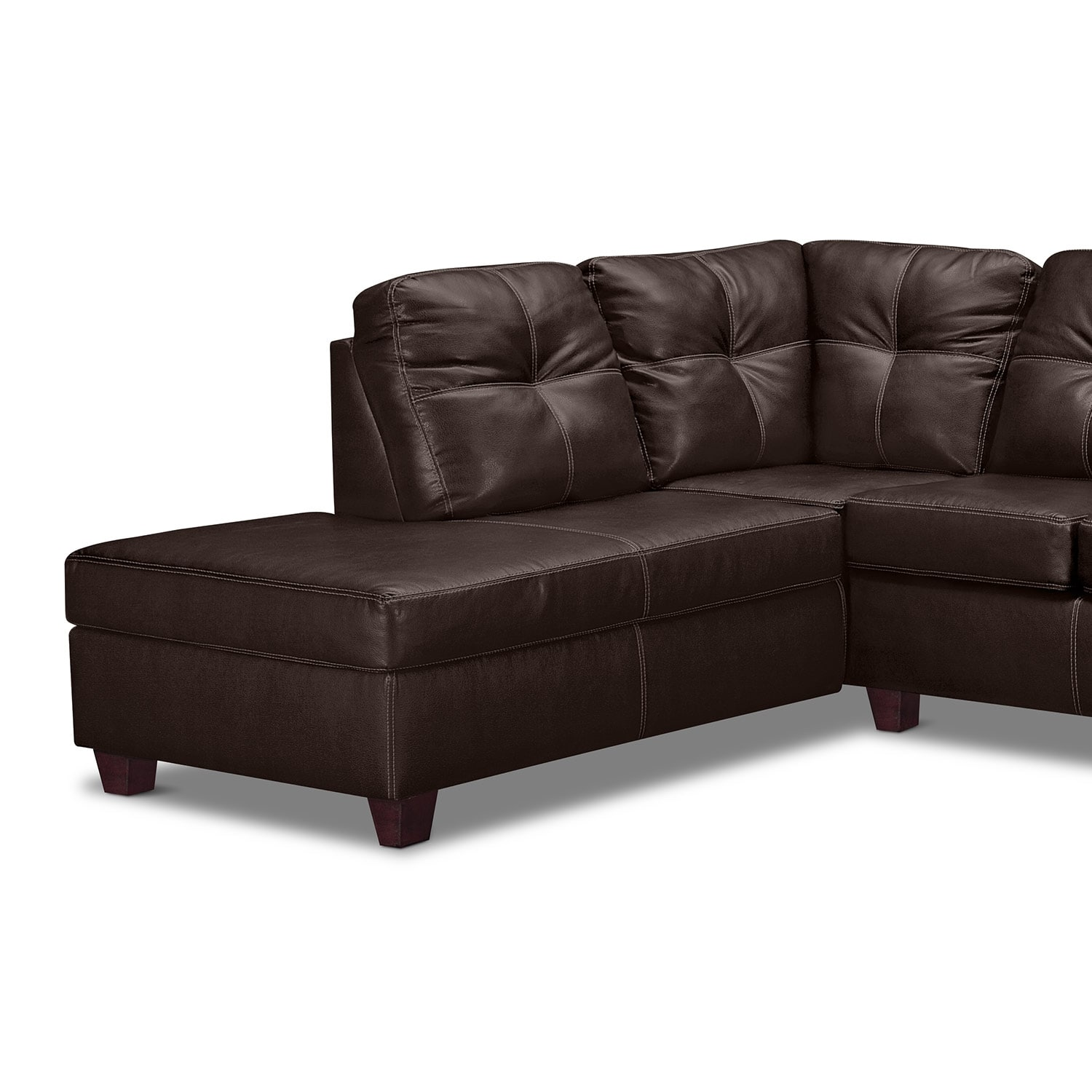Ricardo 2 piece sectional with left facing chaise brown for Brown sectional sofa with chaise