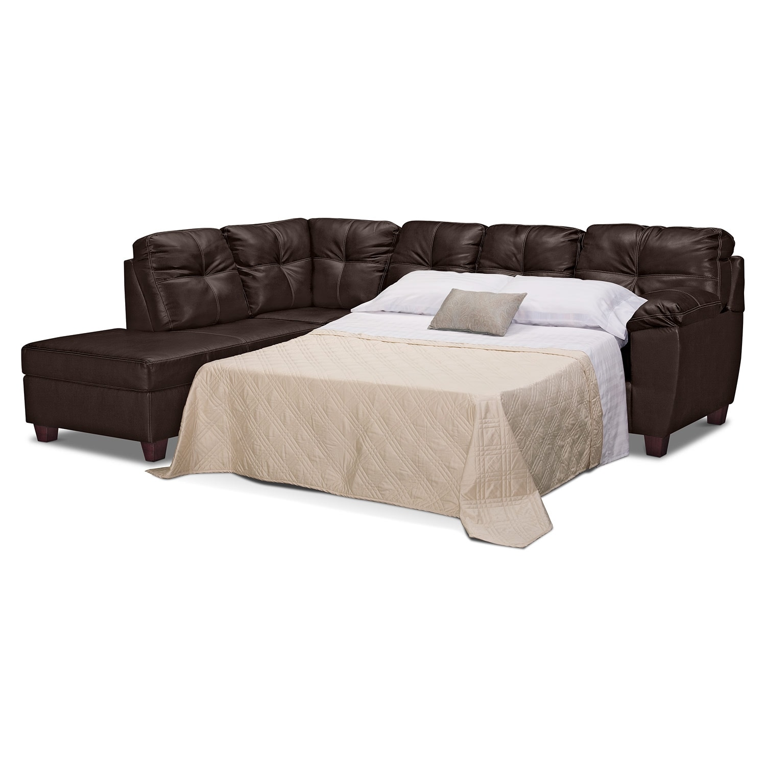 Ricardo 2 piece innerspring sleeper sectional with left for Brown sectional sofa with chaise