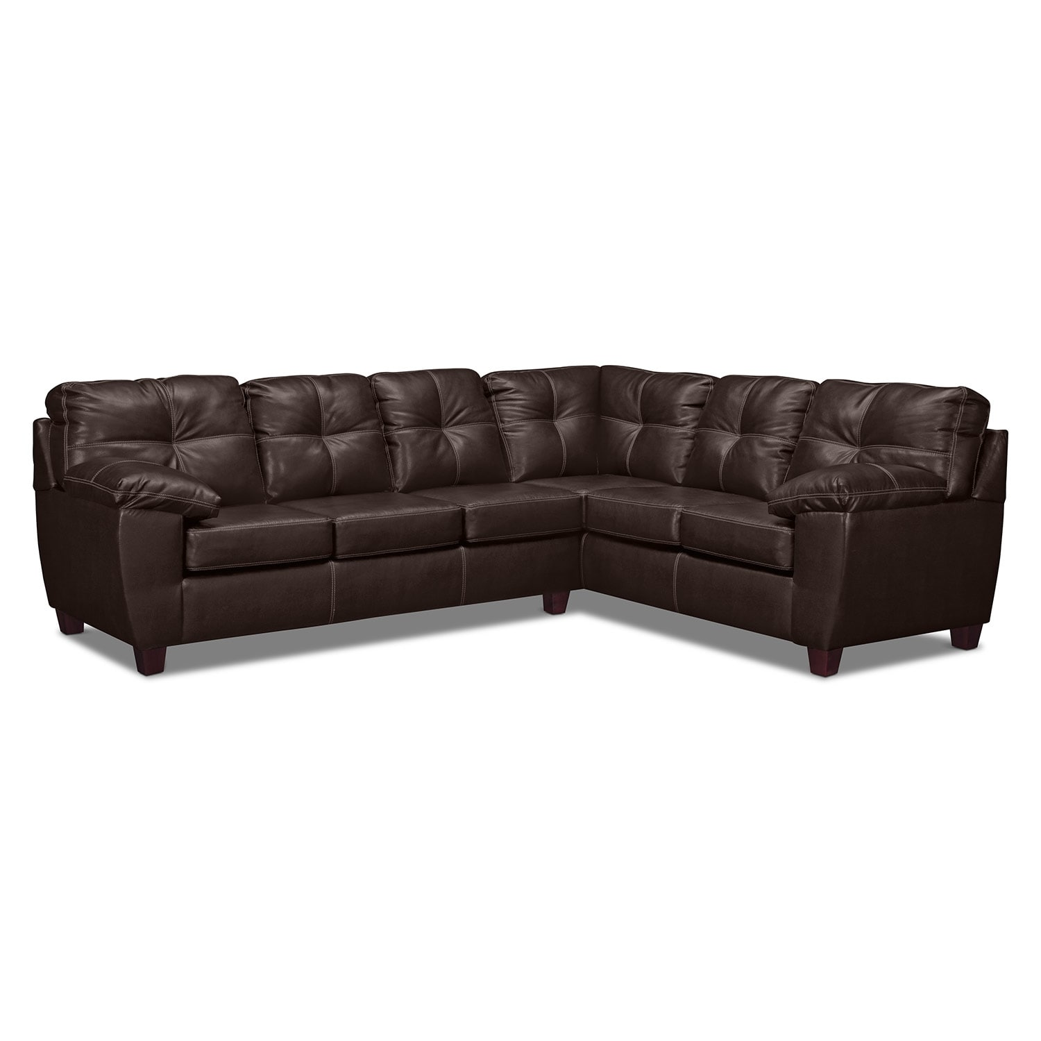 Rialto 2-Piece Sectional with Right-Facing Corner Sofa - Brown