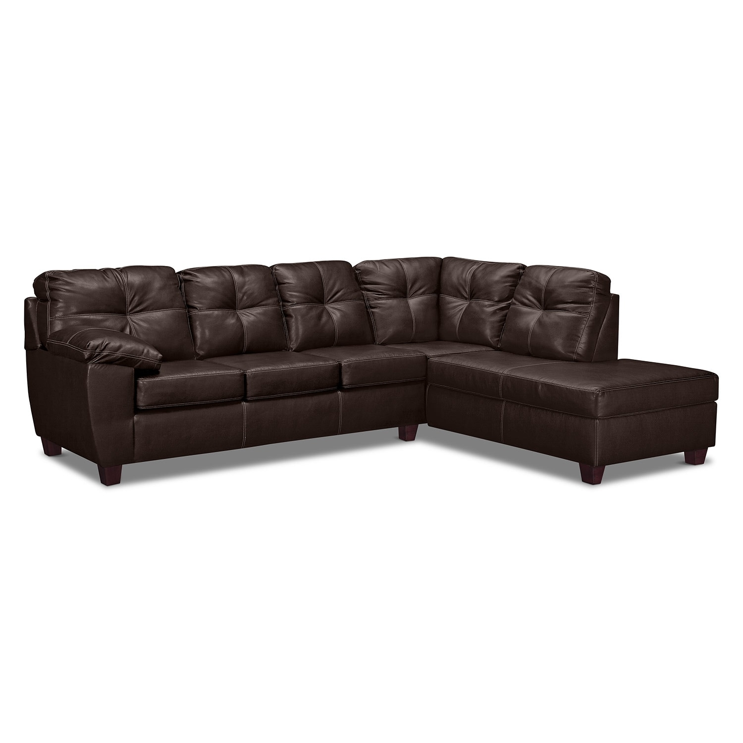Ricardo 2 piece innerspring sleeper sectional with right for Brown sectionals with chaise