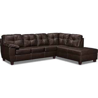 Ricardo 2-Piece Queen Innerspring Sleeper Sectional with Right-Facing Chaise - Brown