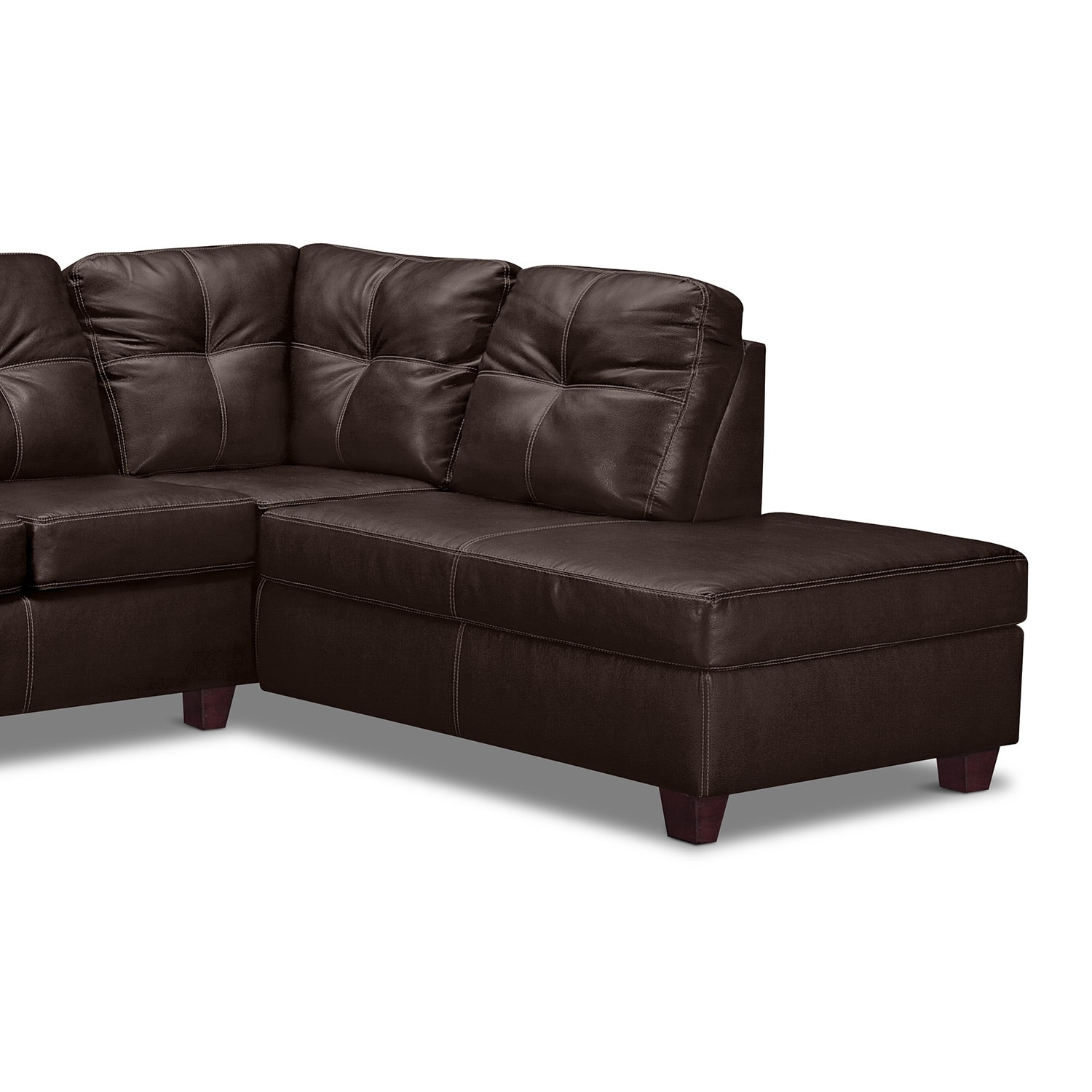 Ricardo 2 piece sectional with right facing chaise brown for Brown sectional sofa with chaise