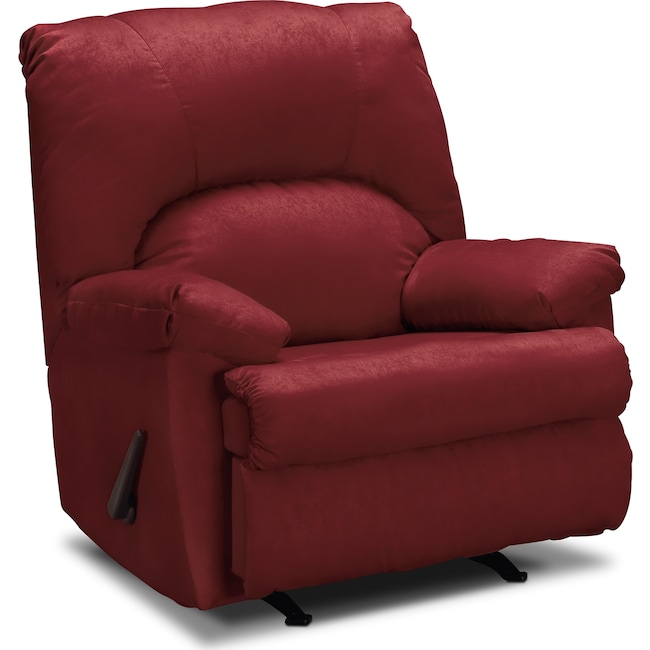 Living Room Furniture - Quincy Rocker Recliner - Garnet
