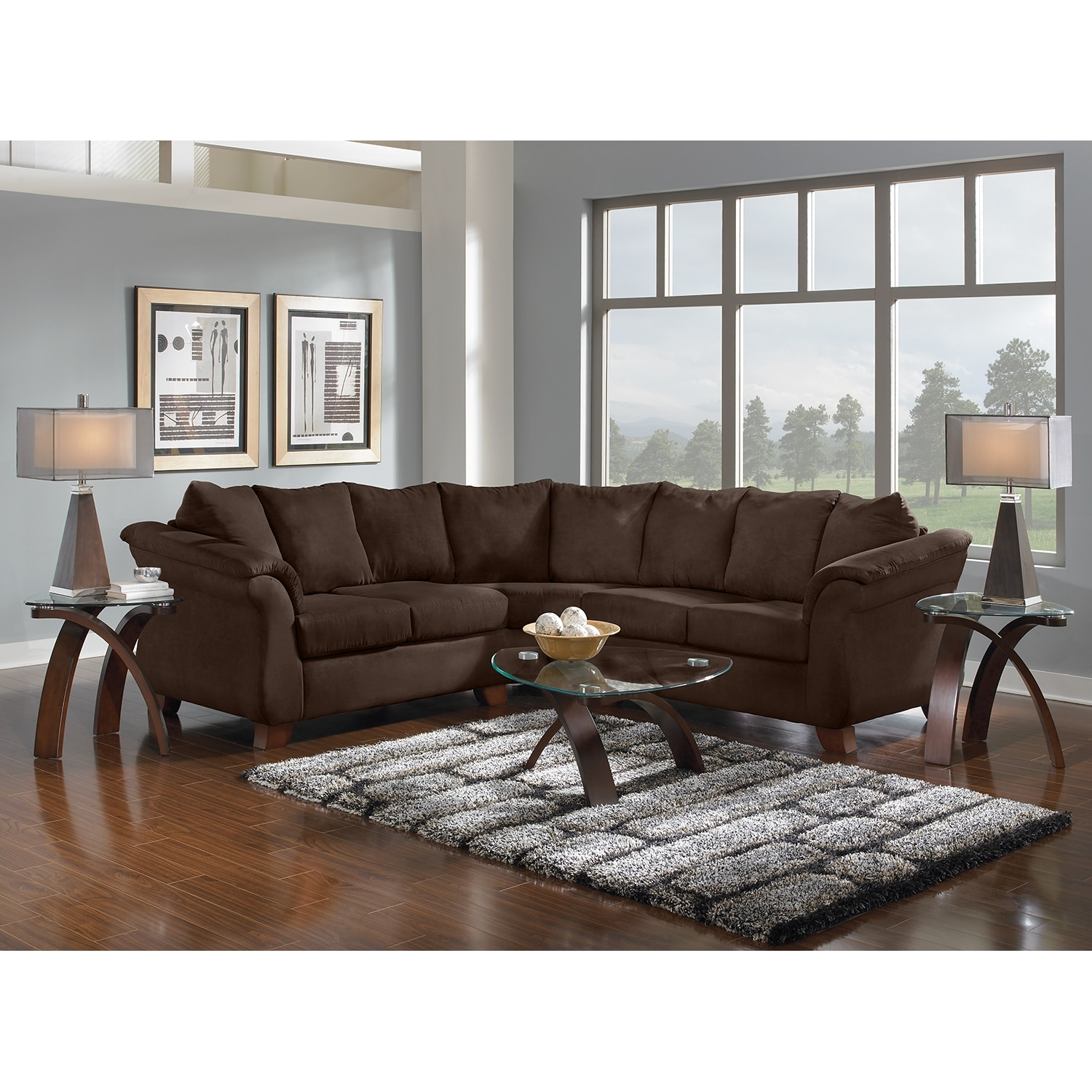 American Signature Furniture: Adrian 2-Piece Sectional - Chocolate