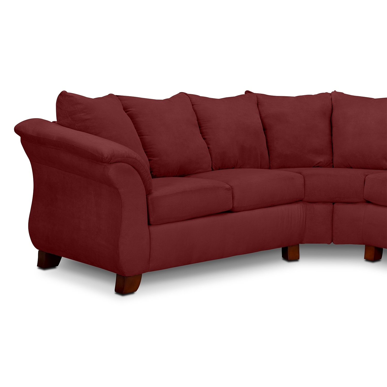 Adrian red 2 piece sectional red american signature for 2 piece red sectional sofa