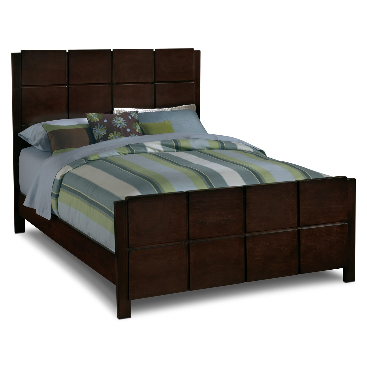 Mosaic king bed dark brown american signature furniture for Signature furniture