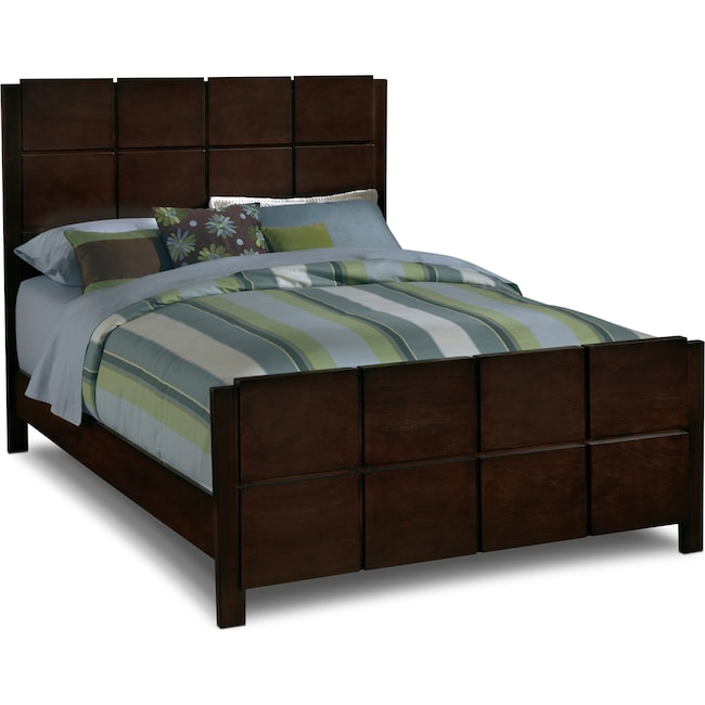 Bedroom Furniture - Mosaic Queen Bed - Dark Brown