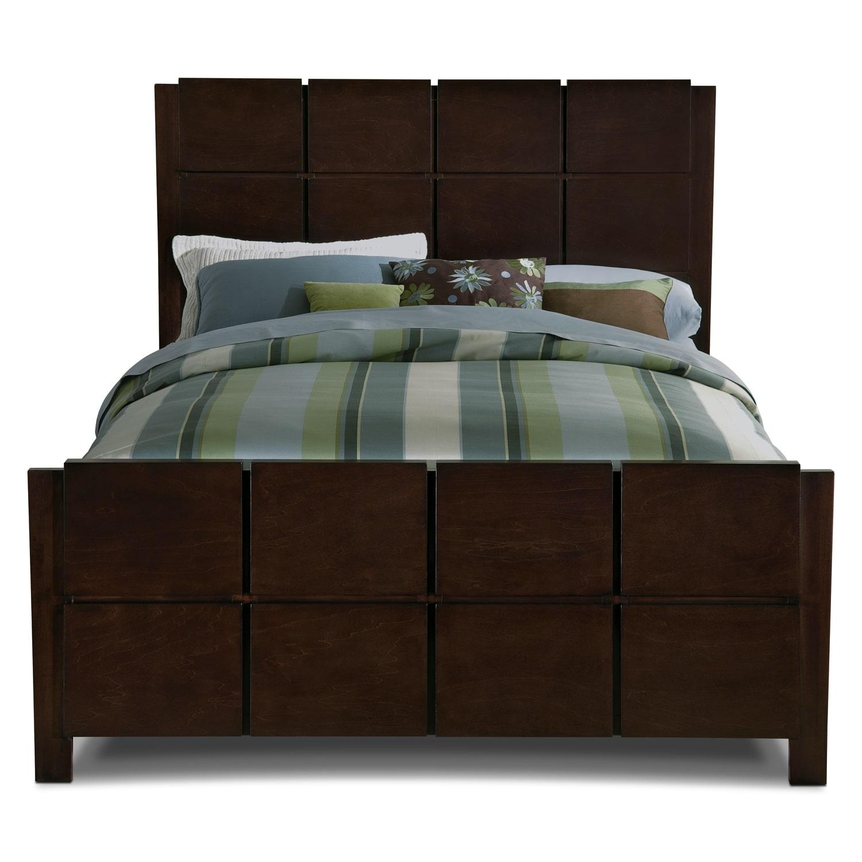 Mosaic king bed dark brown american signature furniture for Dark brown bedroom furniture