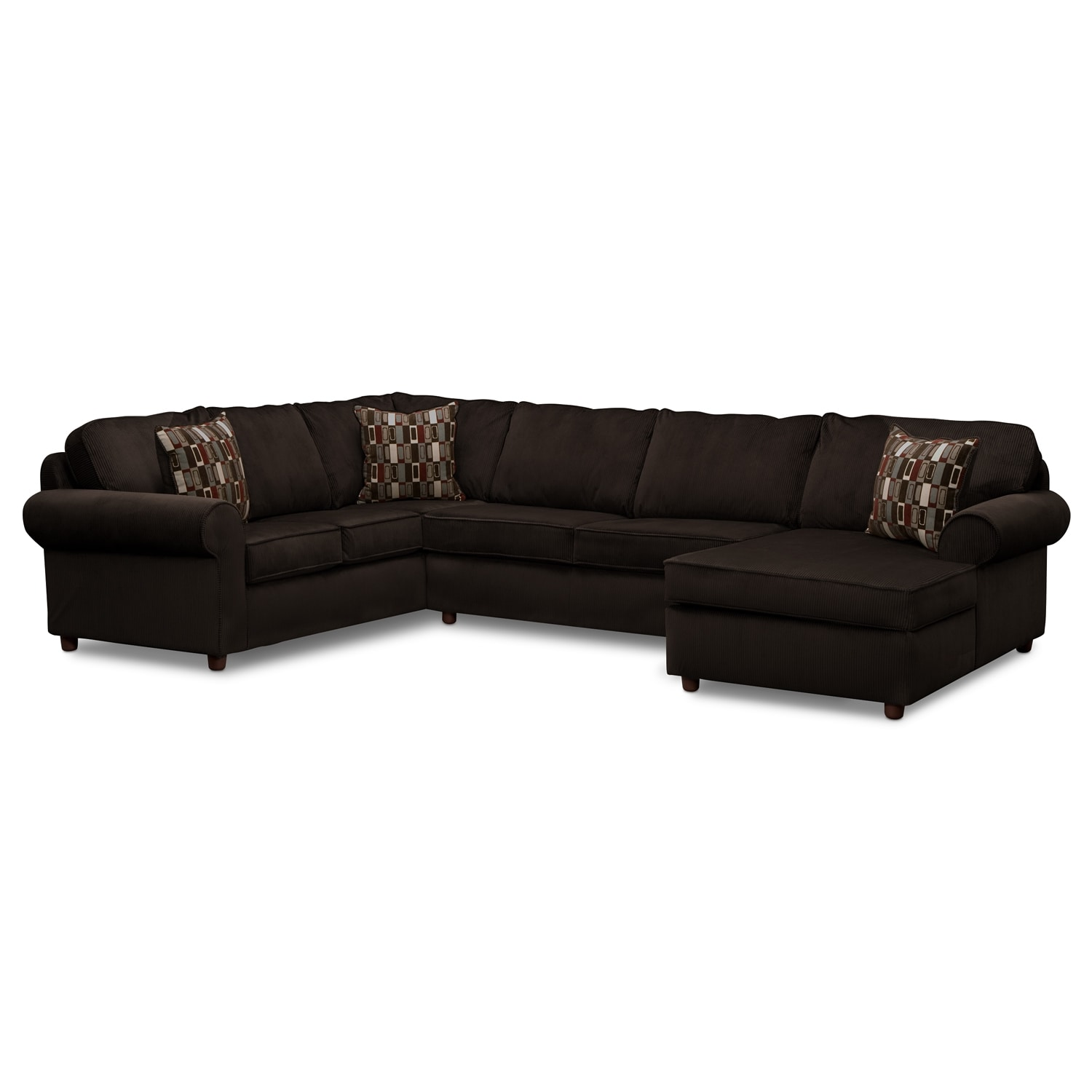 Monarch 3-Piece Sectional - Chocolate