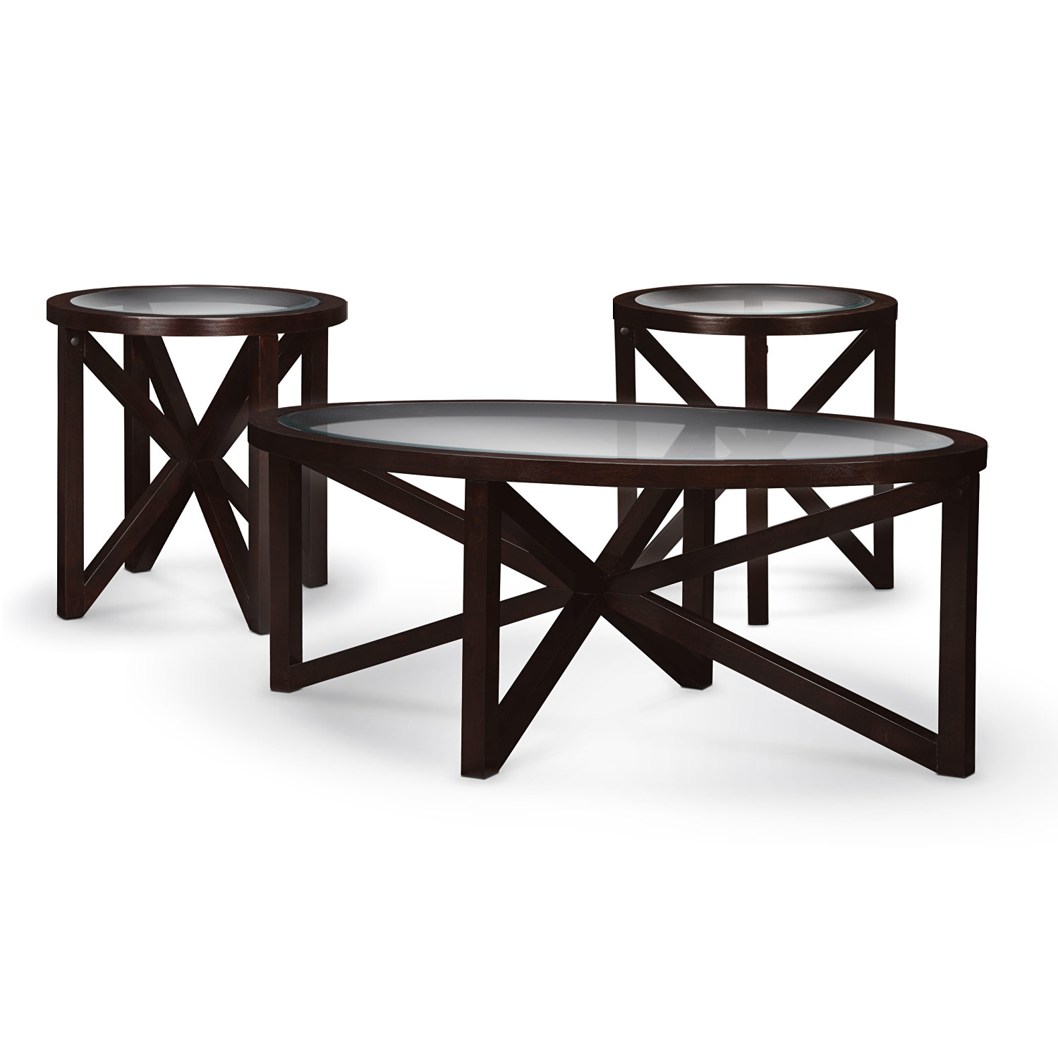 Starburst Cocktail Table And 2 End Tables Merlot American Signature Furniture