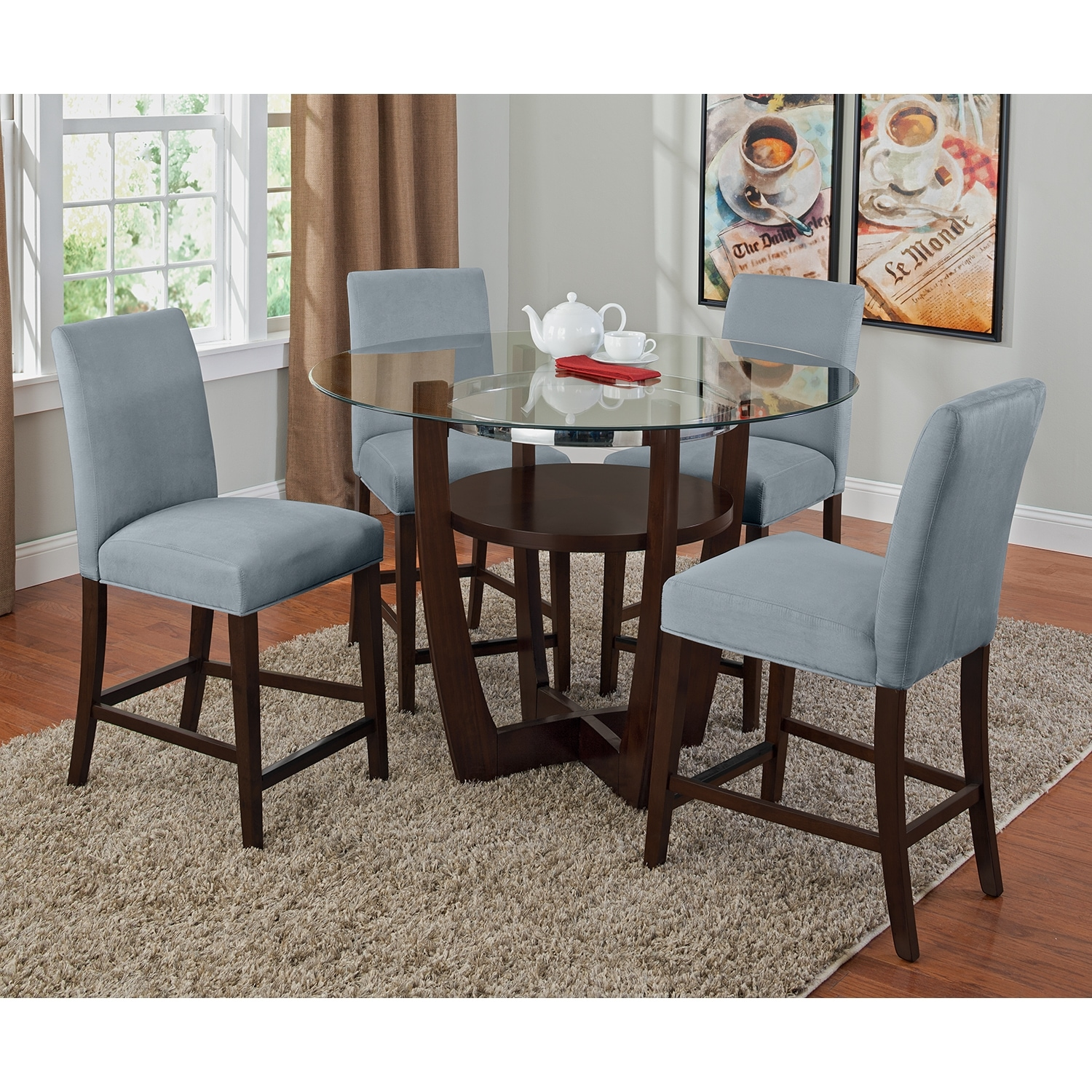 Set Of 4 Kitchen Counter Height Chairs With Microfiber: Alcove Counter-Height Stool - Aqua