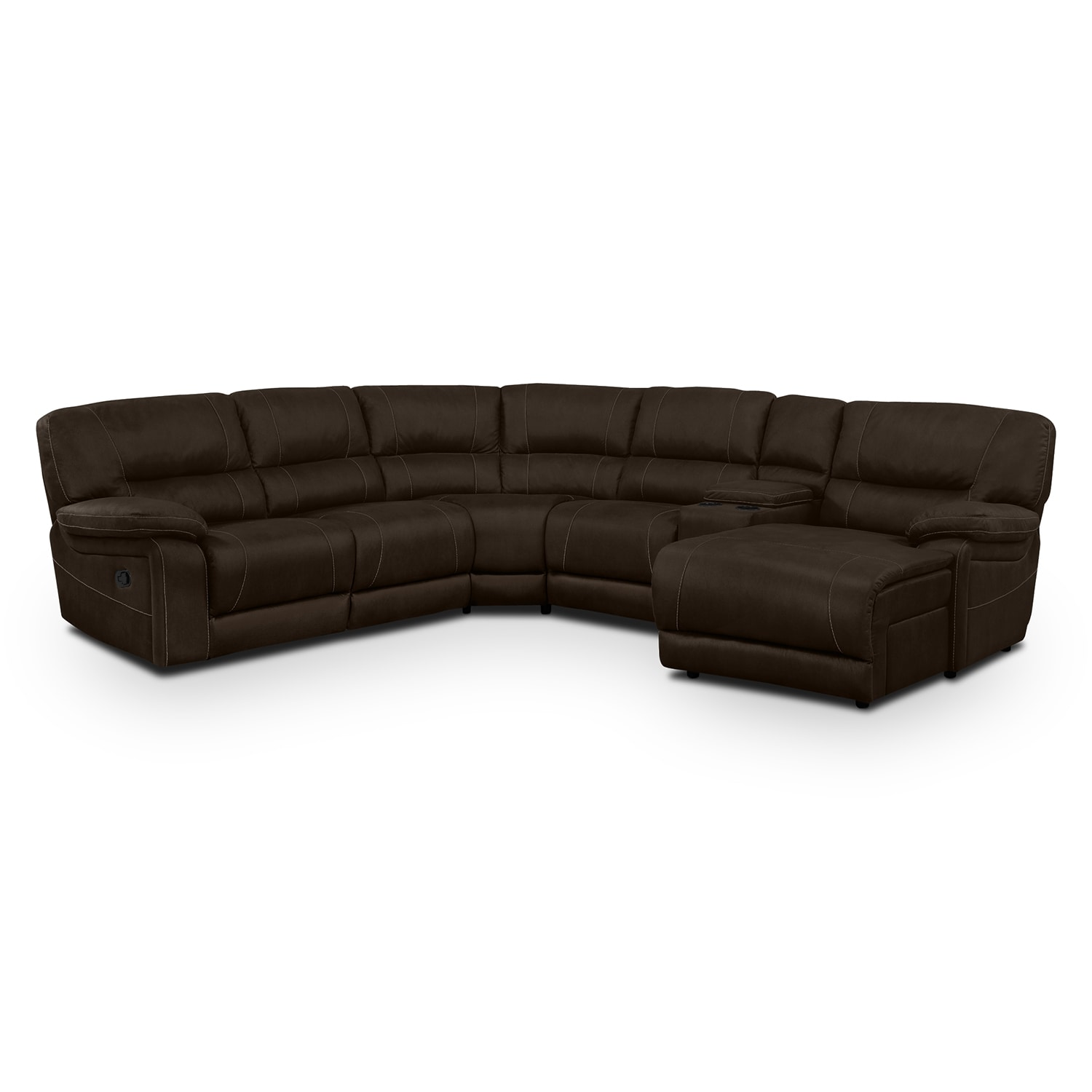 Wyoming 5-Piece Reclining Sectional with Right-Facing Chaise - Saddle Brown